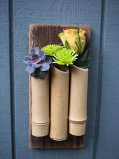 Bamboo repurposed wood fence board wall planter vertical garden Perfect for succulents or use as a flower vase Bamboo Planter, Bamboo Art, Bamboo Crafts, Bamboo Garden, Planter Boxes, Planters, Planter Ideas, Water Garden, Small Backyard Gardens