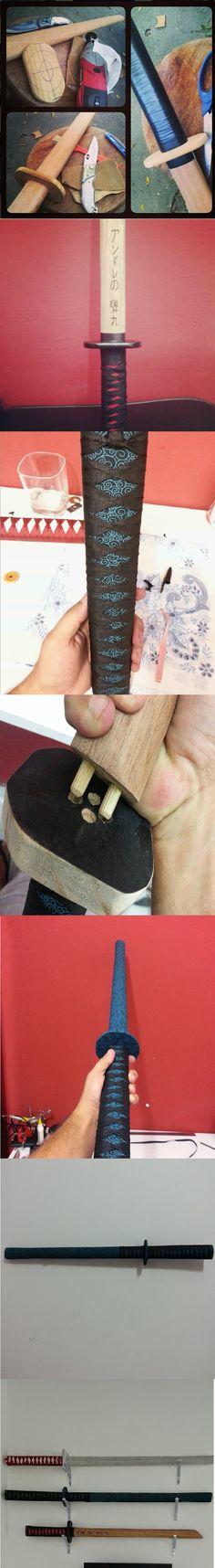 katanas em madeira,forradas com tecido!