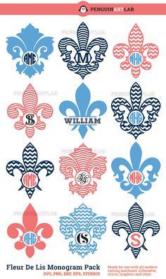 Fleur De Lis Monogram Pack | SVG, Eps, DXF, PNG, Studio3 | Royal Vinyl Cut Files for Cutting Machines | Cricut, Silhouette, Graphtec