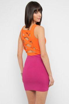 Color Block Tight Knit Dress in Tangerine $47 at www.tobi.com