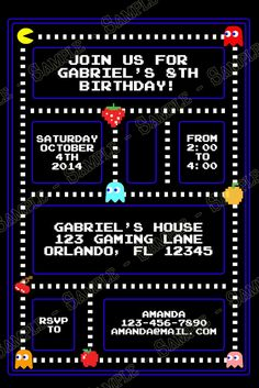 Novel Concept Designs - Classic Pac-Man Birthday Party Invitation
