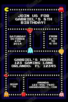 Novel Concept Designs - Classic Pac-Man Birthday Party Invitation