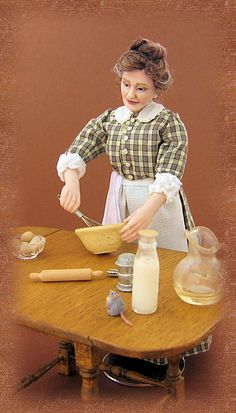 Miniature Doll Art. The Cook