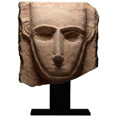 Ancient South Arabian Abstract Limestone Pillar Sculpture - 250 BC | From a unique collection of antique and modern sculptures at https://www.1stdibs.com/furniture/decorative-objects/sculptures/