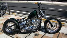 Yamaha V-Star 650 softail custom with diamond-stitch solo seat, window bars, aris headlight and deep green paint job Honda Shadow Bobber, Honda Bobber, Bobber Bikes, Honda Motorcycles, Custom Bobber, Custom Bikes, Drag Star 650, V Star 650 Bobber, Yamaha 650