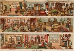 Illustrated Objects for Designing 1880 Something Doll Houses