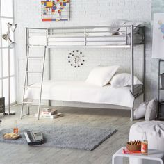 Versatile and stylish, this Twin over Twin Durable Metal Bunk Bed with Ladder in Silver Finish is designed to grow with your kids. This twin over twin bunk bed Metal Bunk Beds, Cool Bunk Beds, Twin Bunk Beds, Kids Bunk Beds, Loft Beds, Silver Bedding, Attic Bed, Bedding Inspiration, Interior Design