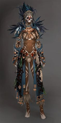 Guild Wars 2 - Voodoo Female by DonDon Idea for your character I think it'd look cool on my necromancer Fantasy Character Design, Character Concept, Character Inspiration, Character Art, Fantasy Inspiration, Dnd Characters, Fantasy Characters, Female Characters, Armor Concept
