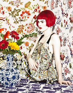Photography by Erik Madigan Heck. Etro 2013.  Florals can be risky to wear, but the array of different floral patterns looks fascinating and this model sold it. I definitely want to buy the top now.