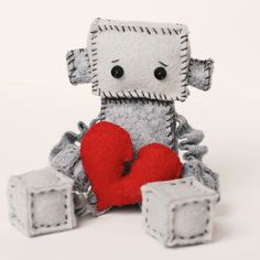 Sad Felt Robot Plush With a Broken Heart by GinnyPenny on Etsy