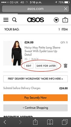 Save for Later on ASOS