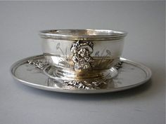 sterling silver porridge bowl and saucer (with a handle or two usually called a porringer) ... ca. 1890-1910 (private collection)