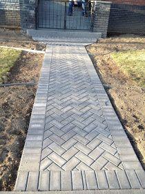 Herringbone paver path