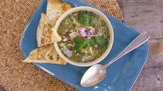 Alternatively use store bought tomatillo salsa to start the soup Chicken Suizas Soup and Quesadillas Recipe