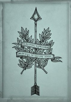 Arrow Tattoo by Guilherme Hass, via Behance/// Bring me my Bow of burning gold; Bring me my Arrows of desire: Bring me my Spear: O clouds unfold! Bring me my Chariot of fire! /// this with Wattle leaves instead, Since ancient times, the Acacia (wattles are acacia) has symbolized purity, endurance, and rebirth.