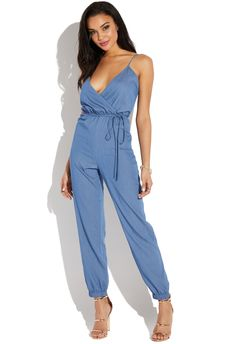 a828f1ccc76f CHAMBRAY JUMPSUIT - ShoeDazzle Chambray Jumpsuit