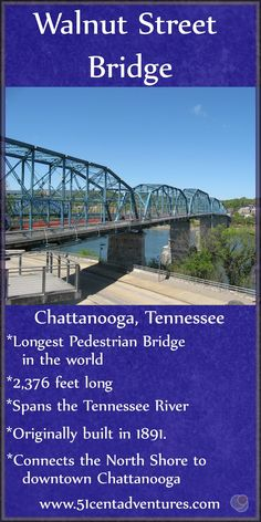 At 2,376 feet long the Walnut Street Pedestrian Bridge is the longest pedestrian bridge in the world. The bridge connects the North Shore to Downtown Chattanooga. Strolling across this bridge is a enjoyable activity to add to any trip to Chattanooga.