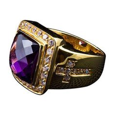 A giant purple amethyst in the center surrounded by clear crystals stones and the shimmering of gold plating makes this Diamond Cross Bishop Ring unique Amethyst Stone, Purple Amethyst, Mens Silver Rings, Sterling Silver Rings, 925 Silver, Bishop Ring, Biker Rings, Handmade Rings, Diamond Cross