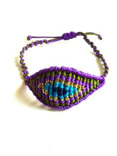 EVIL EYE  MACRAME bracelet Purple Green Blue by SofiMoukidouJewels, $24.00