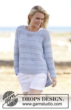 """Knitted DROPS jumper in garter st with lace pattern in """"Paris"""". Size: S - XXXL. ~ DROPS Design"""