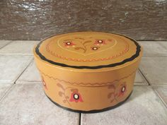 Very nice solid vintage wood mustard yellow pantry box with lid and hand painted folk art design by HeathersCollectibles on Etsy