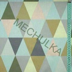 Barevné trojúhelníky (pastel) - retro látka - dekorační metráž - bavlna