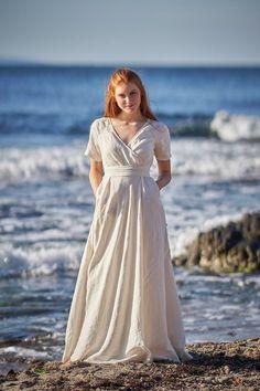 Boho Linen Dress Linen Summer Dress Light Blue Linen Dress   Etsy White Bridesmaid Dresses, White Linen Dresses, Bridesmaids, Beach Dresses, Summer Dresses, Dress Beach, Kaftan, Boho Wedding Dress, Wedding Dresses