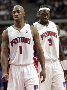 Detroit Pistons' Chauncey Billups (1) and Ben Wallace (01/16/06)