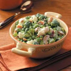 Every summer I get a craving for this cold, creamy, crunchy, green pea salad from tasteofhome.com.