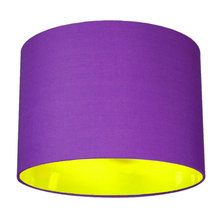 Neon Yellow Lined Fabric Drum Lampshade - 25 Colours