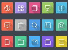 Flat Design, Web Design, Graphic Design, Svg Shapes, Flat Web, Long Shadow, Icon Set, Buttons, Google Search