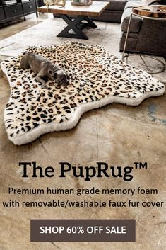 Introducing the PupRug™ Faux Animal Print memory foam dog bed. The world's first memory foam dog bed artfully crafted with a faux fur animal print cover to bring a rich natural touch to your home decor. Animals And Pets, Cute Animals, Dog Rooms, Dog Bed, Pet Beds, The Ranch, Dog Accessories, Dog Care, Dog Treats