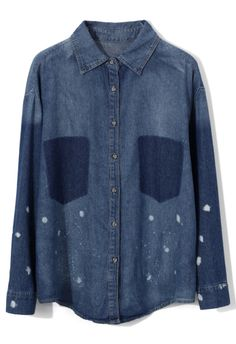 Oversize Denim Shirt with Shadow Pockets