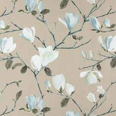 Prestigious Textiles Sayuri 5981/721 Marine fabric from the Living collection, priced per metre. Living is a beautiful collection for window dressing and decorative accessories featuring modern, floral designs