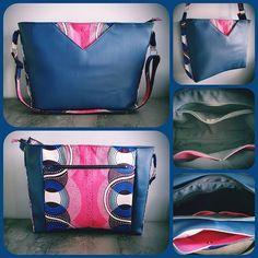 H2C créations sur Instagram: Nouveau né déjà adopté 🤩 Sac Mambo de chez Sacôtin en simili cuir bleu marine et tissu wax rose et bleu. Retrouvez toutes les infos sur…
