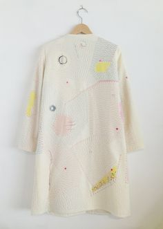 Zazi14aw sashiko embroidered wool coat