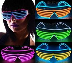 37bd64f62b Neon 80s LED Shutter Shades Eighties Style