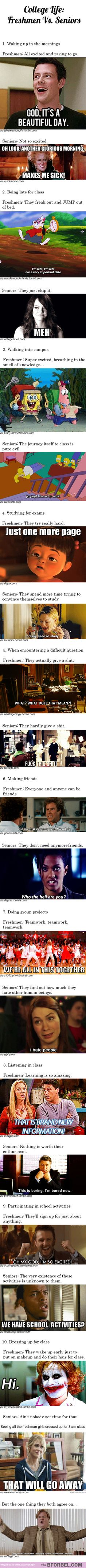 College life: Freshmen vs. seniors. I'm in that in between, I still really care, but I really just don't wanna....lol