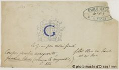 Emile Gallé Chiffres G et L en majuscules d'imprimerie réticulés d'arabesques entre 1863 et 1930 crayon, encre et aquarelle H. 0.08 ; L. 0.138 musée d'Orsay, Paris, France
