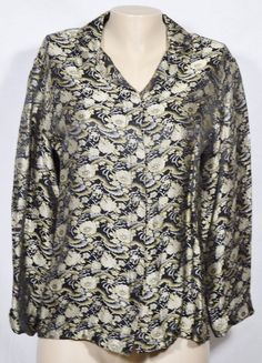 CHICO'S Black/Tan Floral Tapestry Style Shirt Blouse Jacket 1 3/4 Sleeves #Chicos #ButtonDownShirt #Casual