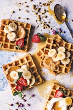 Waffles with Browned Honey Butter & Chamomile Syrup