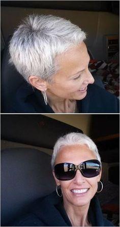 Oud worden kan ook mooi zijn! Prachtige grijze korte kapsels! - Kapsels voor haar