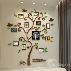 11 Photo Frame Tree Country-style Acrylic Waterproof Self-Adhesive 3D Wall Stickers