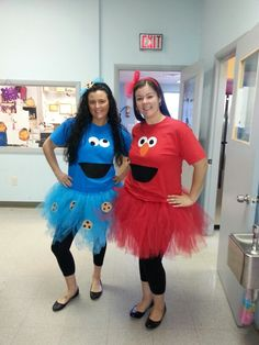 I think we should dress like this! :) Diy Elmo and Cookie Monster costumes