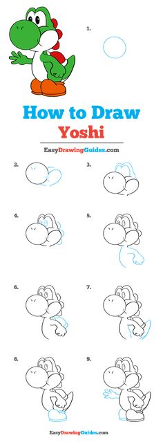Learn to draw Yoshi. This step-by-step tutorial makes it easy. Kids and beginners alike can now draw a great looking Yoshi from Super Mario. Doodle Art For Beginners, Easy Drawings For Beginners, Drawing Tutorials For Kids, Easy Drawings For Kids, Cute Drawings, Cartoon Drawing For Kids, Children Drawing, Art Tutorials, Drawing Ideas