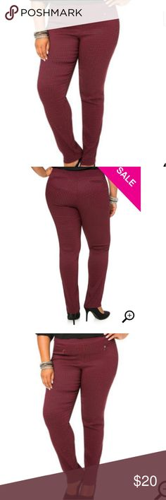 "Houndstooth Bootcut Pants These plus size houndstooth dress pants are perfect for the office. Neat and sleek, the stretch knit will show off your curves and flatter your silhouette. I'm loving this style! Pull-on style. Wide waist band. Front zip pockets.Front rise: 12"" Inseam: 32""46% polyester 38% rayon 12% nylon 4% spandex.  Size 18/20 Worn once No chub rub. Excellent used condition.  PRICE IS FIRM UNLESS BUNDLED NO TRADES Make a reasonable offer! Ashley Stewart Pants Boot Cut & Flare"