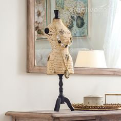 Cottage Chic Decoupage Papermache Mannequin Jewelry Holder ★ Creative Co-Op Home