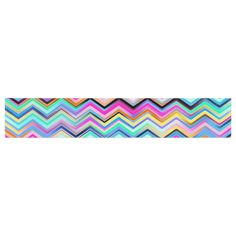 "Dawid Roc ""Colorful Rainbow Chevron"" Multicolor Blue Table Runner"