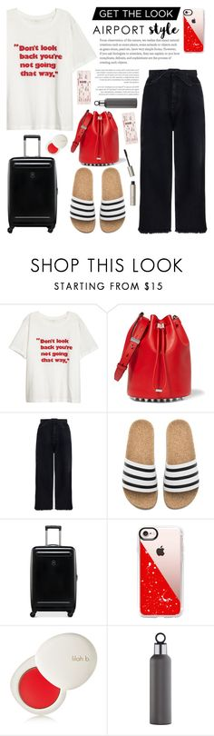 """Jet Set: Airport Style"" by glamorous09 ❤ liked on Polyvore featuring Alexander Wang, Zimmermann, adidas, Victorinox Swiss Army, Casetify, lilah b., blomus, Ilia and airportstyle"