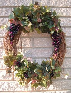 Grape Wall Decorations | Grapevine Wreath with grape accents